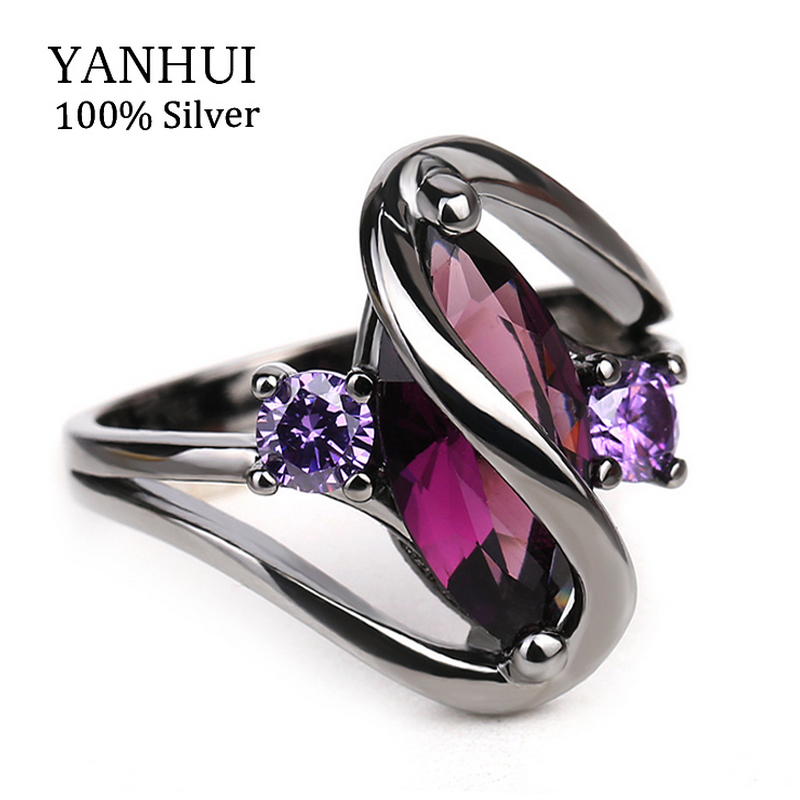 YANHUI Original New Fashion Black Rings For Women Gold Filled Purple Oval Cubic Zirconia Party Finger Rings Gift Jewelry RA040