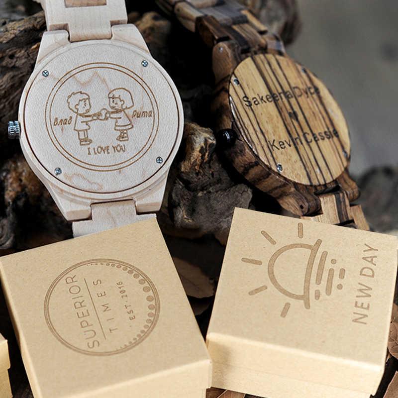Grabado de logotipo personalizado, relojes de madera bambú, papel de bambú y Cajas de Regalo de madera