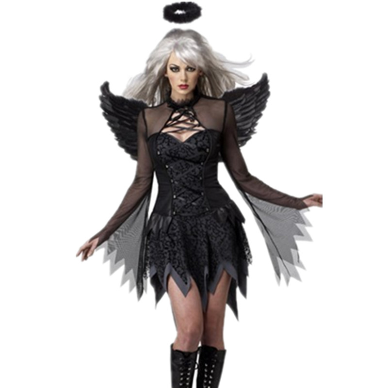 New Arrival Women Adult Fallen Angel Costume Black Angel Party Dress Sexy Adult -2782