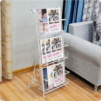 6pcs Vintage Three layer Metal Iron Magazine Rack Books Floor Steel Shelf Stereo Hall Newspaper Display Shelf ZA4634