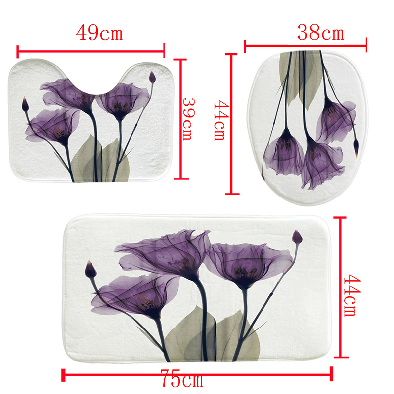LANGRIA 4pcs Flower Print Bathroom Shower Curtain Set With Flannel Fabric For Bathroom And Toilet Windows 4