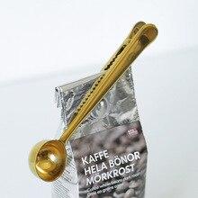 Кухонные принадлежности 2 в 1 n нержавеющая сталь уплотнительный Зажим Кофе в зернах молоко порошок Пробивка доза ложка кафе измерения