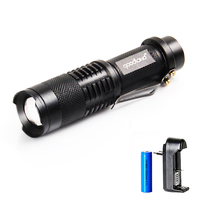 LED Flashlight Waterproof 3-Mode Zoomable Tactical Flashlight Adjustable Mini LED Torch Portable Penlight for 14500 Battery