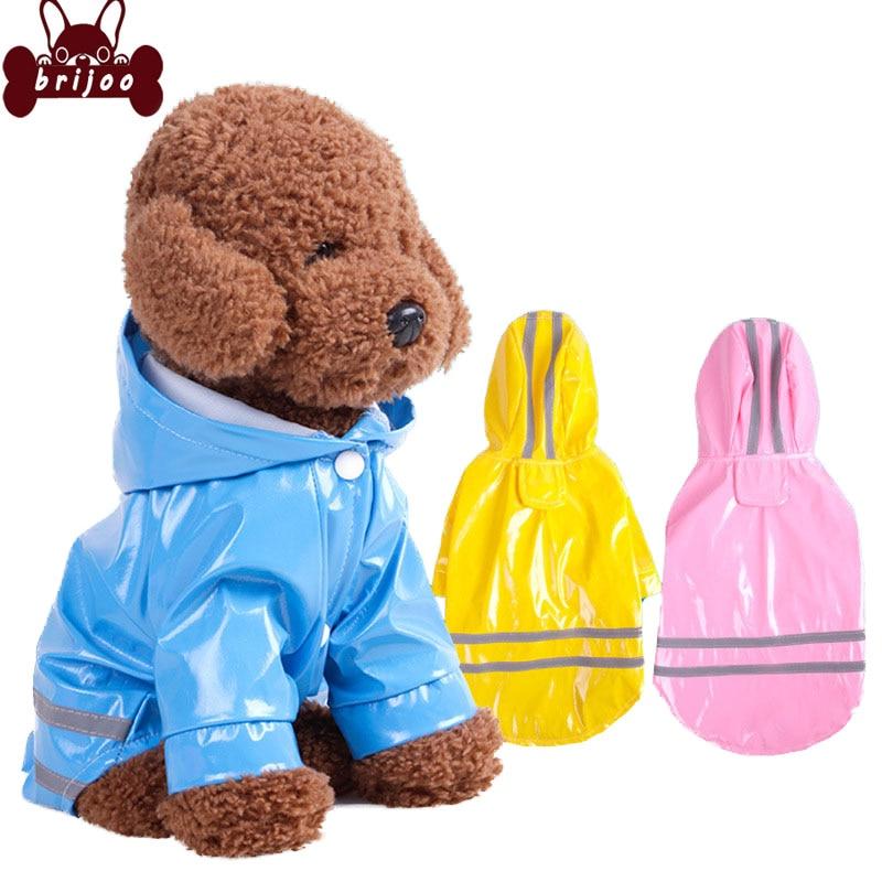 Brijoo Dog Raincoat Fashion Pet Raincoat Dog Clothes Spring Summer PU Reflective Dog Hooded Windproof Puppy Raincoat