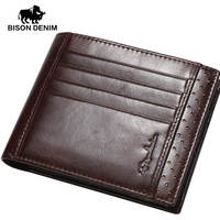 BISON DENIM 2016 Brand Trend Oil Wax Leather Short Wallet Men High Grade First Layer Cowskin