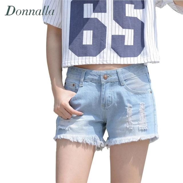 Ripped Denim Shorts Mulheres Hot Sexy Verão Borla Shorts Jeans para As Mulheres Luz Azul Jeans Branco Estilo Verão Denim Curto 2016