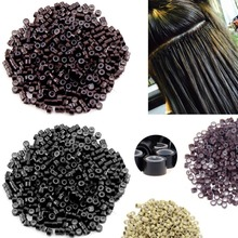 1000pcs 5mm Silicone Lined Micro Beads Rings Tube For Human Hair Extension Link Tip Tools No Damage to Hair Hair Rollers Styling цены онлайн