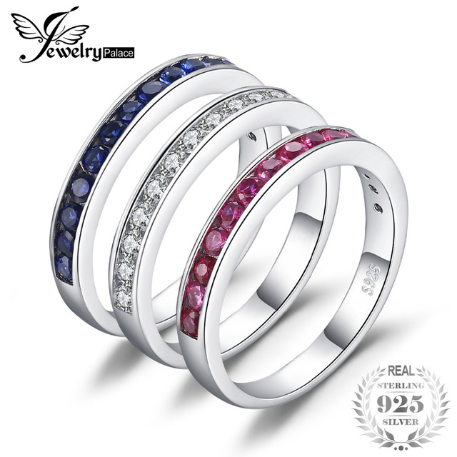 JewelryPalace Three Stack 1.8ct Round Created Ruby Sapphire Cubic Zirconia Band