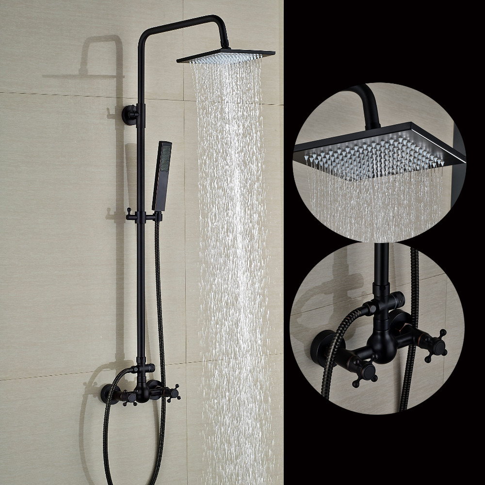 Square Oil Rubbed Bronze 8 Rain Shower Head Dual Cross Handles W/ Hand Shower