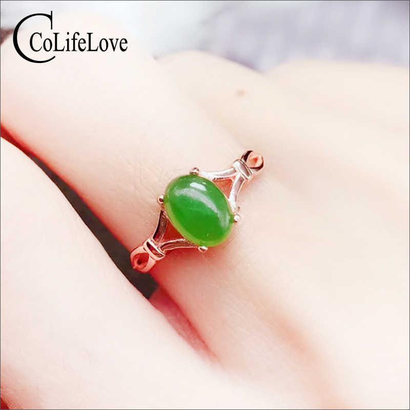 CoLife เครื่องประดับสไตล์จีนสีเขียวหยกแหวนผู้หญิง 1 Ct ธรรมชาติหยกเงินแหวนเงิน 925 หยกเครื่องประดับแม่ของขวัญวัน