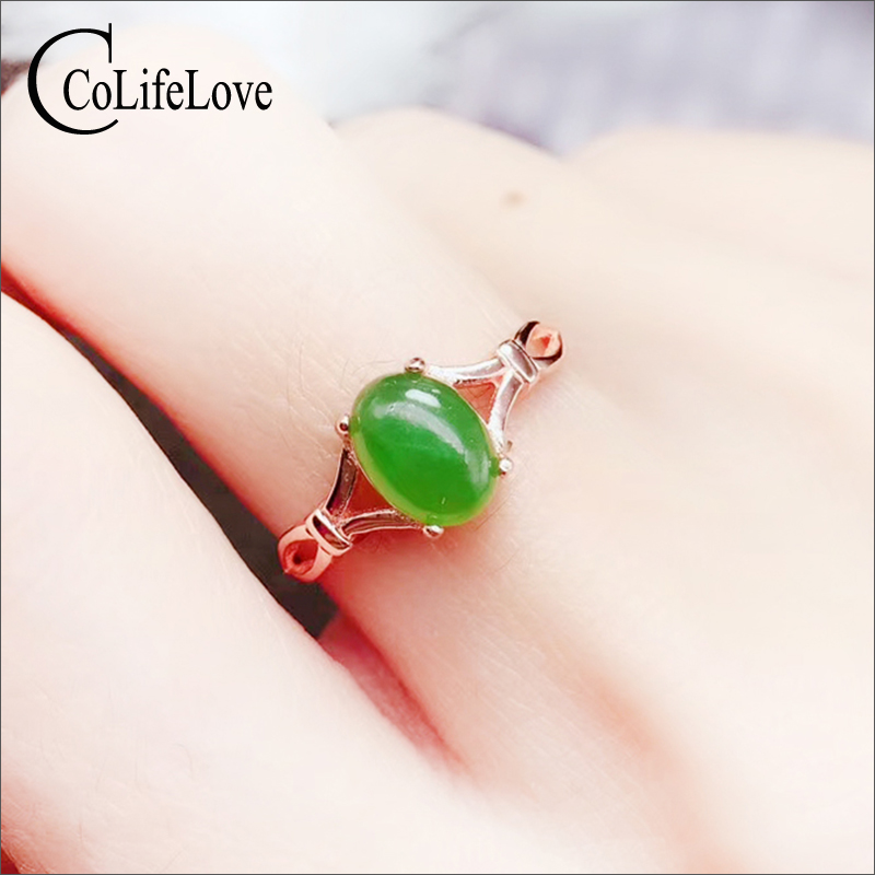 CoLife Jewelry Chinese Style Green Jade Ring For Woman 1 Ct Natural Jade Silver Ring 925 Silver Jade Jewelry Mother Day Gift