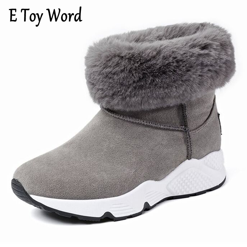 E TOY WORD 2017 Winter Women Snow Boots Flat Round-toe Ankle Boots Warm Plush Boots Slip-on Women Shoes Black Gray Botines Mujer e toy word 2017 winter snow boots women warm fashion platform rubber ankle boots shoes woman flat with 3 colors xwm190