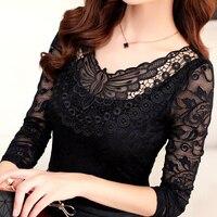 2019 Spring Summer Fashion Women Elegant Black Lace Blouse Shirt Long Sleeve Sexy Tops Women Plus Size Clothing Y147