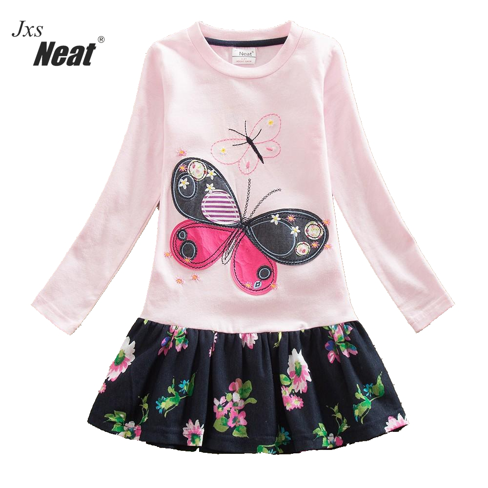 2016 Retail baby Girl Clothes Long Sleeve Girls Dress butterfly Kids clothing princess Dresses A-line children clothing LH5460 girl dress kids clothes 2016 wl original lemon flower print a line baby girl dress children cotton princess dress girls costumes