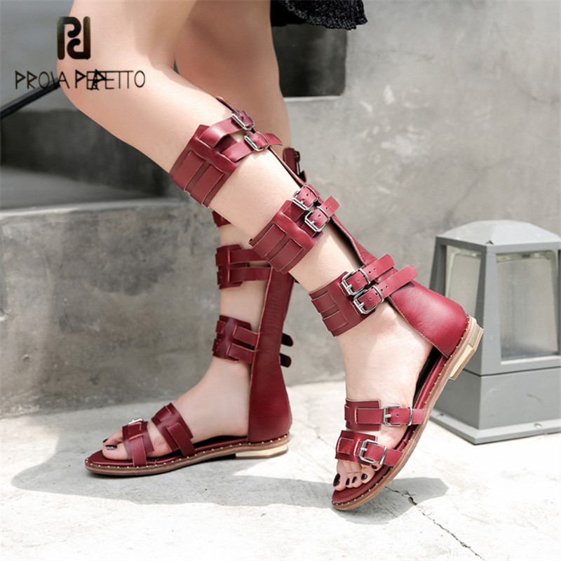 Prova Perfetto Genuine Leather Sandals Women Gladiator Summer Boots Hollow Out Retro Straps Flat Shoes Woman Valentine Shoes prova perfetto hollow out ladies gladiator sandals women platform pumps rivets chunky high heel shoes woman sandalias mujer