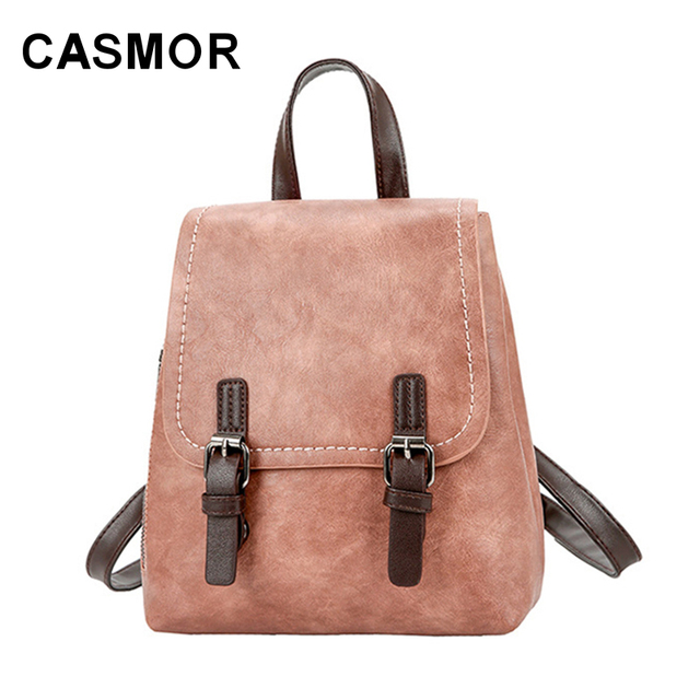 b2b336affe CASMOR PU Leather Solid Backpack Women Fashion Hasp Backpacks High Quality  College Style Teenage Schoolbags Pretty Female Bag