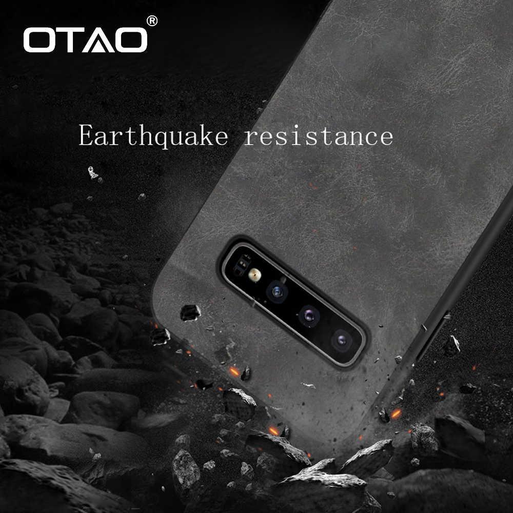 OTAO Retro de cuero de la PU de la caja del teléfono para Samsung Galaxy S10 Lite S9 S8 Plus Nota 8 9 S10e a prueba de golpes a prueba de casos funda trasera de Color sólido