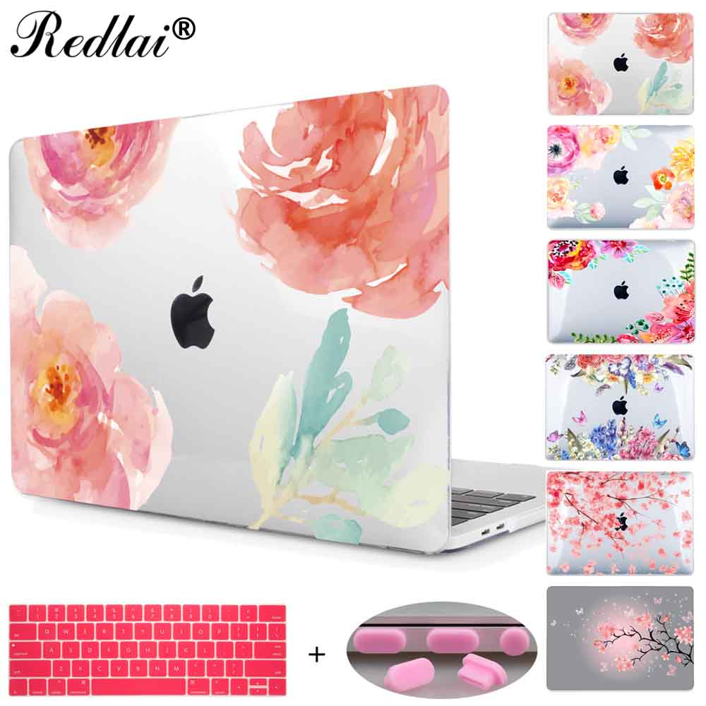 Floral Crystal Clear Print Hard Case For Macbook Pro 13 15 2016 Touch bar Laptop bag Air Pro Retina 12 13 15 with Keyboard Cover soyan pu laptop sleeve envelope bag for macbook air pro retina 11 12 13 15