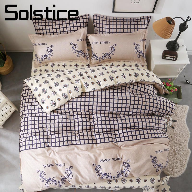 Solstice Home Textile King Queen Twin Full Bedding Sets Plaid Pattern Brown Duvet Cover Pillow Case Sheet Woman Adult Bed LinensSolstice Home Textile King Queen Twin Full Bedding Sets Plaid Pattern Brown Duvet Cover Pillow Case Sheet Woman Adult Bed Linens
