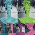 5 Color Hot Sell Mermaid Tail Blanket Handmade Crochet Mermaid Blanket Kids Adult Throw Bed Wrap Super Soft Sleeping Bed