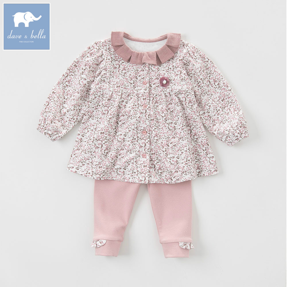 DB5535 davebella autumn baby girls grey pink clothing sets printed suit children clothing sets floral clothes pink and red children sets baby girls
