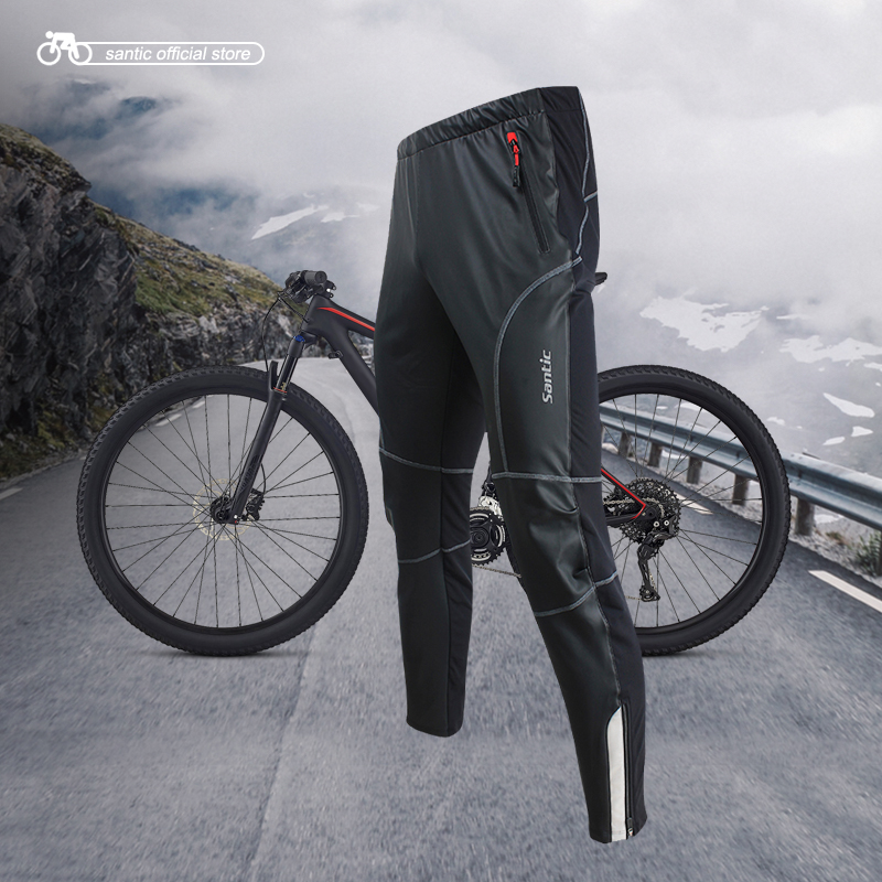 Santic Men Cycling Pants Windproof Keep Warm Anti-pilling Winter MTB Warm Trouser