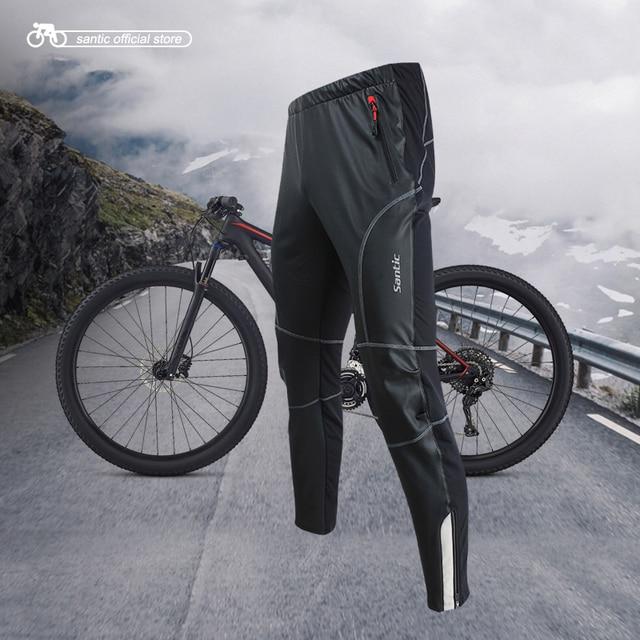 Santic גברים רכיבה על אופניים מכנסיים Windproof להתחמם אנטי pilling שני בדים חורף MTB חם מכנסיים רוברט KP6201
