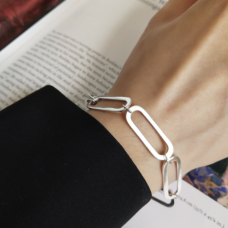 LouLeur 925 sterling silver Industrial wind Geometric chain bracelets silver chain buckle bracelets for women party jewelry gift new 2017 spring long length baby girls jeans pants fashion kids loose ripped jeans pants for children hole denim trousers