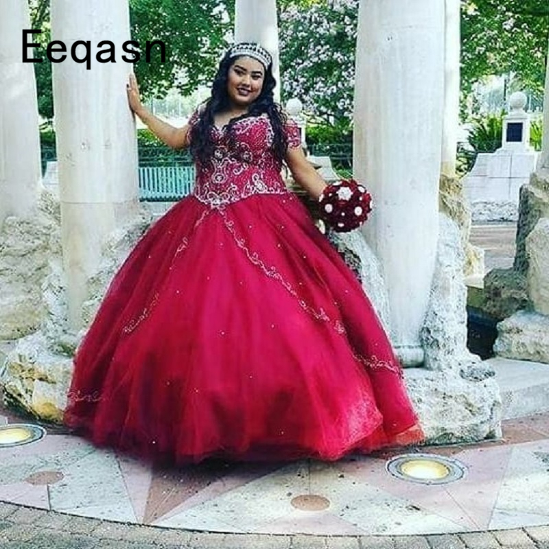 Luxury Crystals Ball Gown Quinceanera Dresses V Neck Sweet <font><b>16</b></font> Dress Puffy Skirt Long <font><b>Teen</b></font> <font><b>Girls</b></font> Pageant Dress 2020 Plus Size image