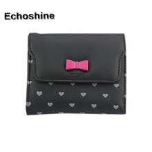 2016 hot Fashion Bow Love Short Clamshell Purse Wallet Girl Wallet Card Package Purse gift wholesale