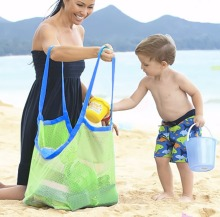 hot deal buy extra large mesh beach bag tote backpack toys towels sand away,perfect for holding childrens' toys