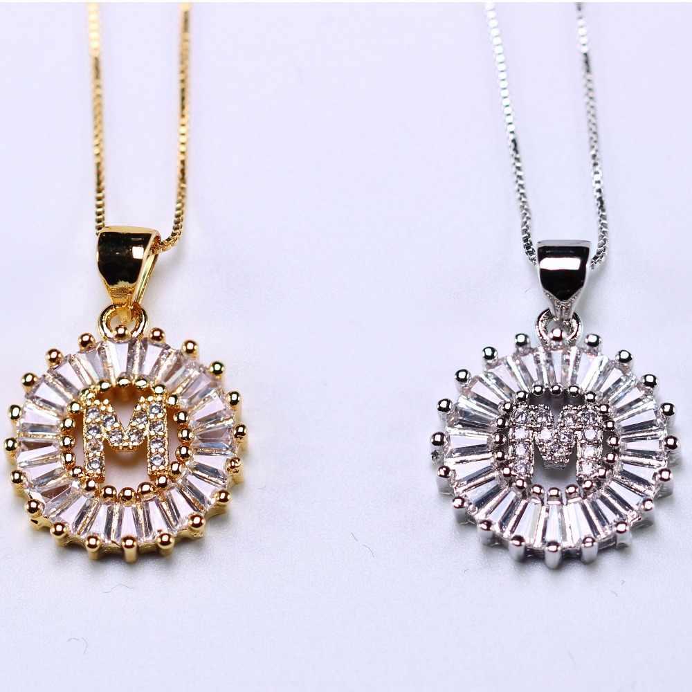 Alphabet Liontin Kalung Pribadi Awal Surat Kalung Abcdefghijklmnprstuxvy untuk Wanita Perhiasan Hadiah