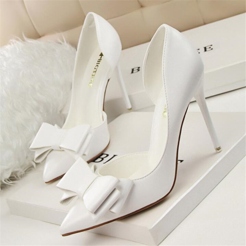 Leather Thin Heels Office Women Shoes New Arrival Pumps Fashion High Heels Shoes Women 39 s Pointed Toe Sexy Shoes Shallow in Women 39 s Pumps from Shoes