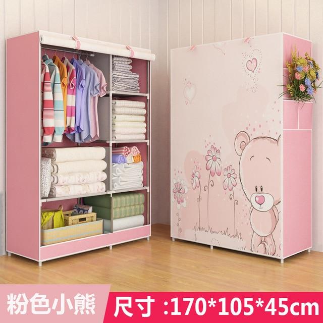 Simple Non-woven DIY Wardrobe Closet Dormitory Folding Storage Cabinet Dust-proof