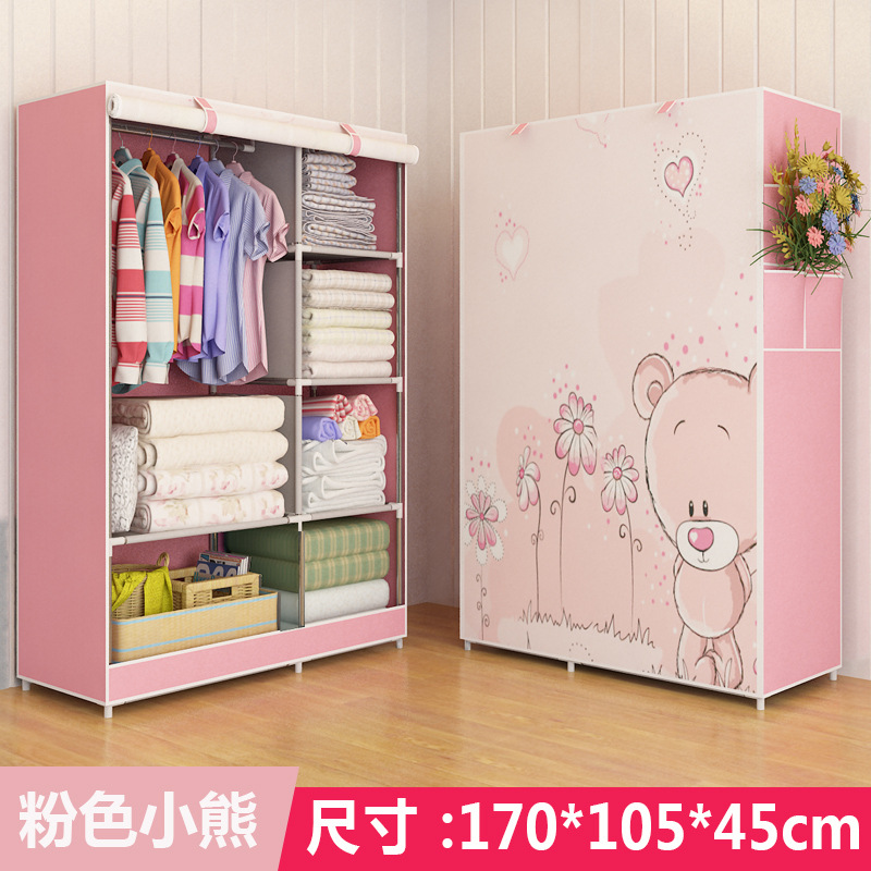 Simple Non-woven DIY Wardrobe Closet Dormitory Folding Storage Cabinet Dust-proof