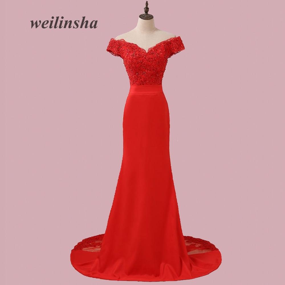 weilinsha Red Mermaid Evening Dresses Long Off the Shoulder Robes De ...