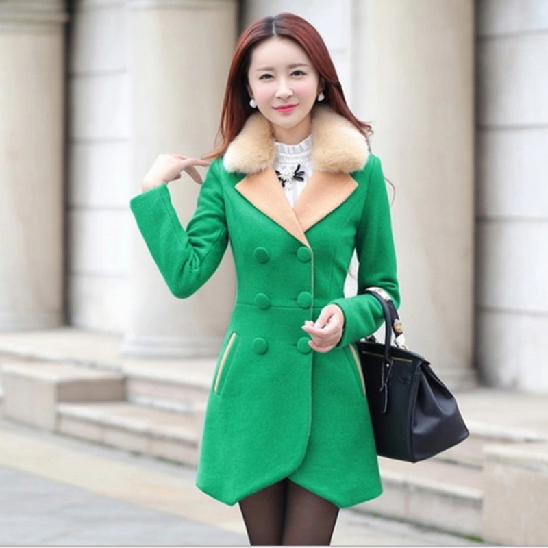 2016 Winter New Design Slim Long Overcoat Long Sleeve red blue green Female women clothes Show