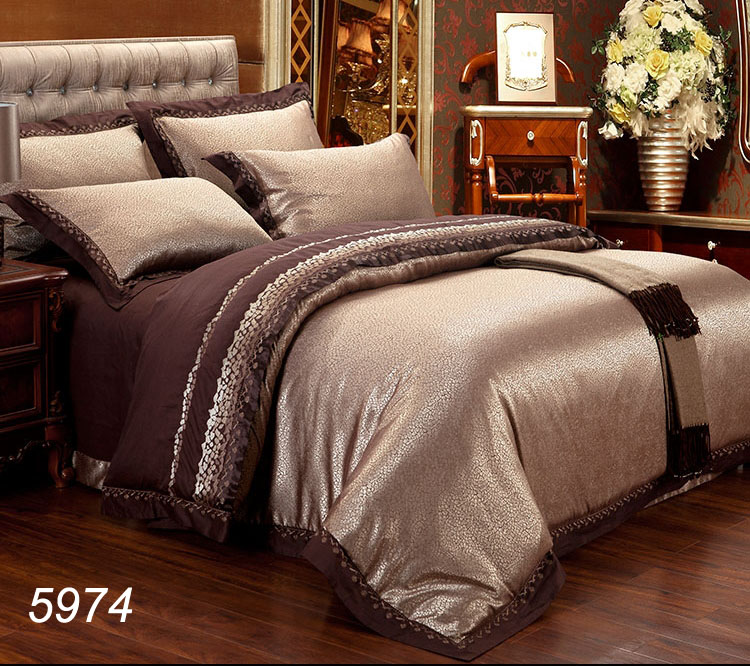 western luxury romantic bedding set jacquard bed linens tribute silk and cotton embroidery 4pcs6pcs