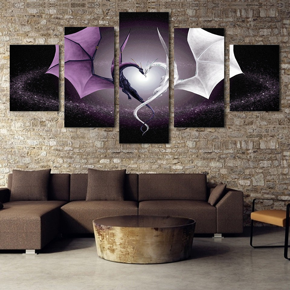 Decoratie Afbeeldingen Vintage Interieur 5 Panel Dragon Love - Huisdecoratie