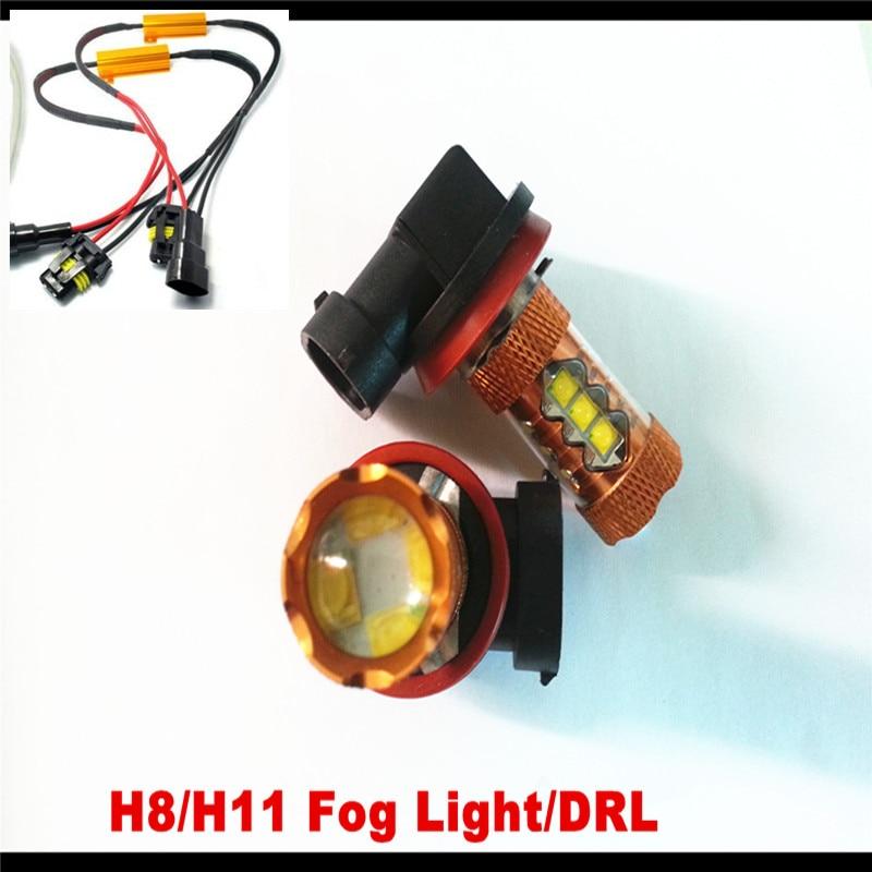 2Pcs Eree Free White H11 H8 High Power LED Car Fog Light DRL PGJ19-2 Bulb Fog Light For SEAT VW GOLF MK5 RANGE ROVER VOUGE