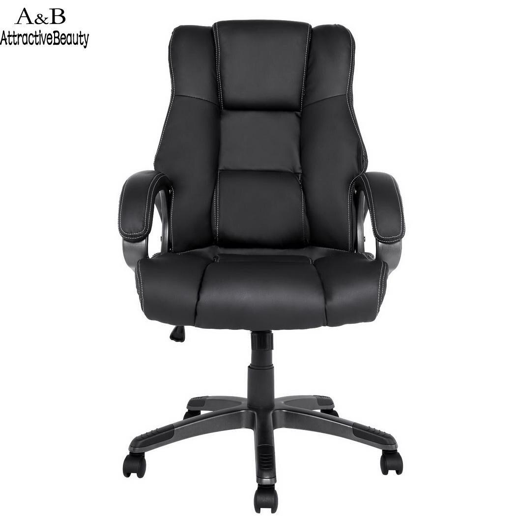 Homdox Boss прилавки эргономичный Высокие ботинки из PU кожи назад офисное кресло с Подлокотники для автомобиля N40 *