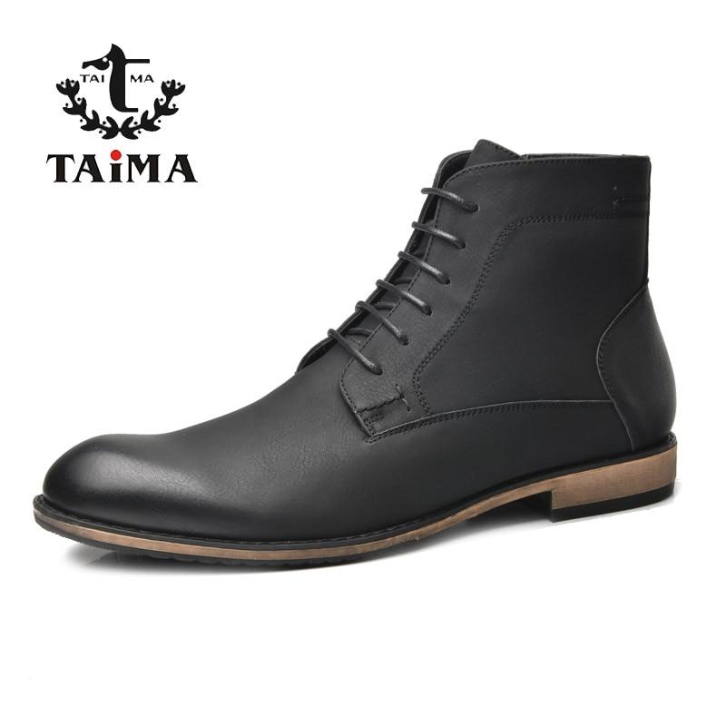 Тайма Бренд большие скидки новое поступление осень и зима мода мужчины загрузки бизнес случайные сапоги для мужчин черный#RU0021&RU0022