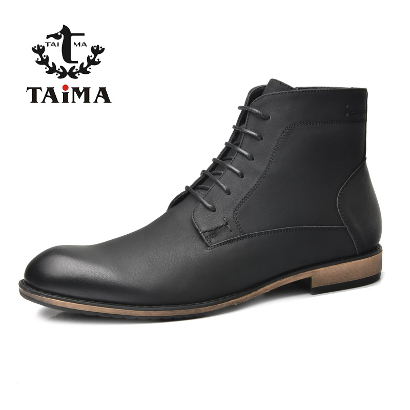 TAIMA Brand new arrival Autumn and Winter Fashion Warm Men Boots Business Casual Boots For Men Black#RU0021&RU0022 цена