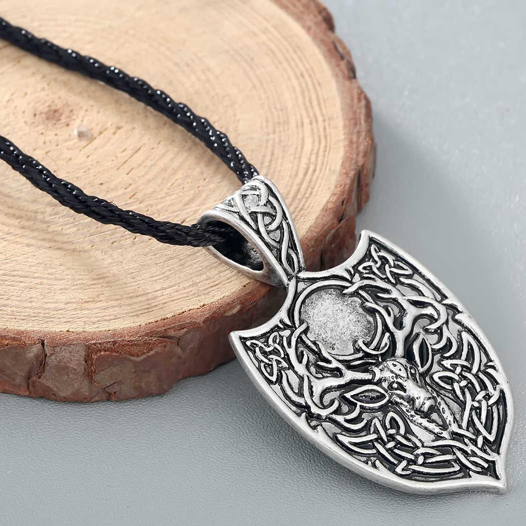 Cxwind w stylu Vintage duże podwójne Deer wisiorek naszyjnik legendarny Rope Chain Aegishjalmur Viking Nordic Amulet węzeł naszyjniki biżuteria
