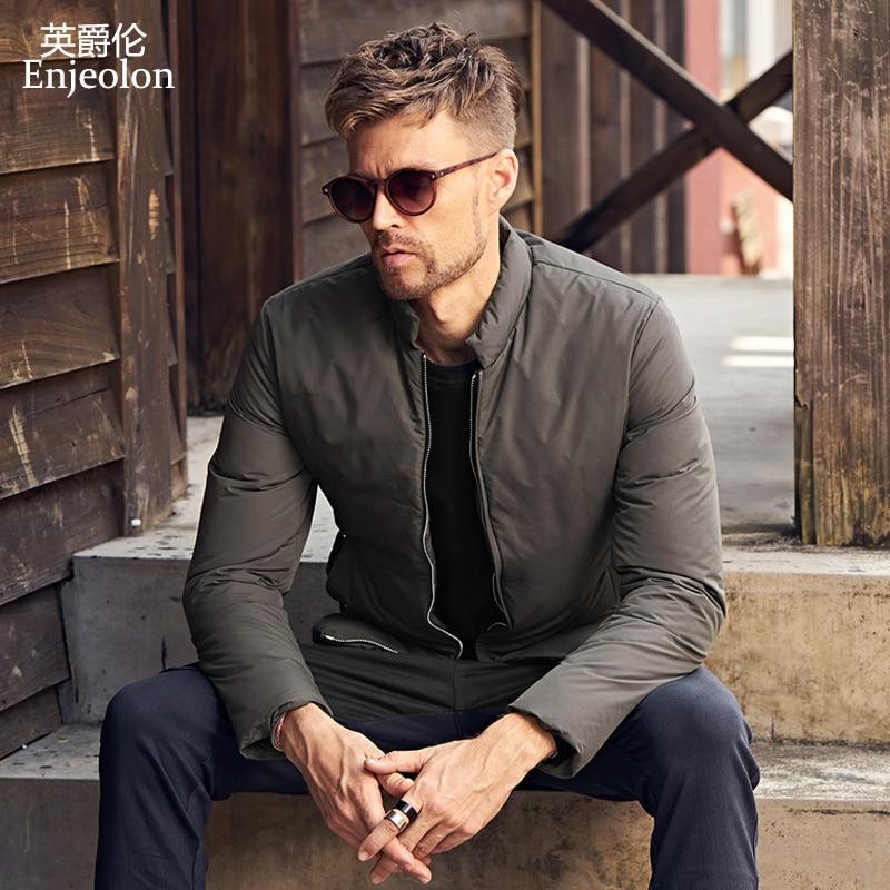 Enjeolon marque épaississent hiver vers le bas veste hommes vêtements légers Blanc duvet de canard manteau top qualité plus taille 3XL vers le bas parka MF0102