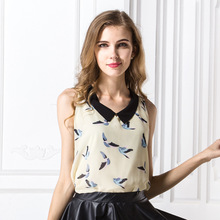 2017 Summer Chiffon Tank Tops Women Turn-down Collar Vest Shirt Fashion Print Tank Top Camis Female
