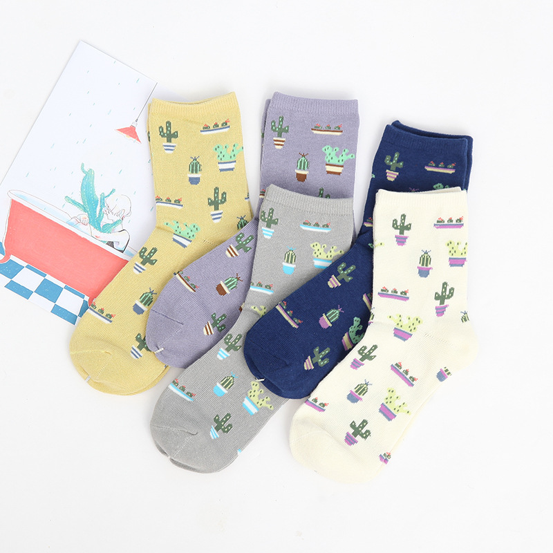 New Plant Cactus pattern women   socks   comfortable lovely cute   socks   cotton Casual Warm   socks   for girls