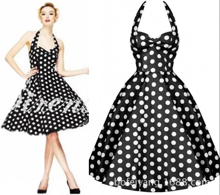 8264ff28 US $22.94 15% OFF|Kobiety panie lato Retro lat 50 pin up sukienka swingowa  sukienka 60 s w stylu Vintage Plus rozmiar Rockabilly sukienki na co dzień  ...