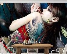 beibehang papel de parede Tattoo hand drawn woman modern European living room background wall hudas beauty papier peint behang