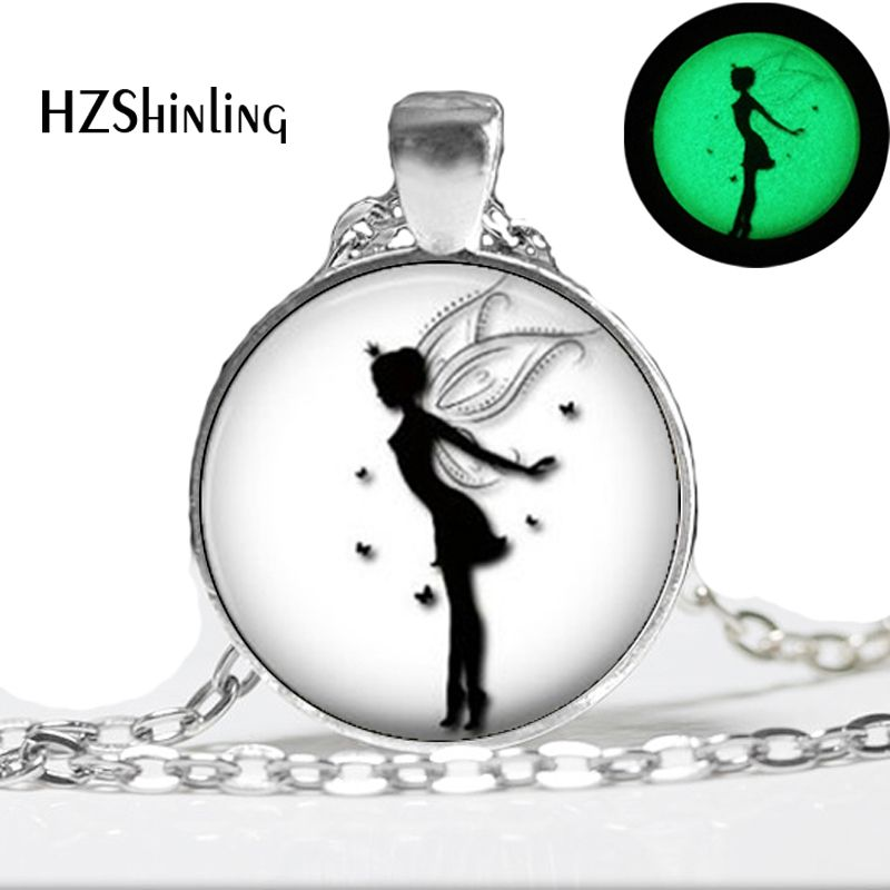 Glow In The Dark Fairy Silhouette Pendant Necklace Butterflies Girls Fairy Necklace,Art photo glass glowing necklace pendant